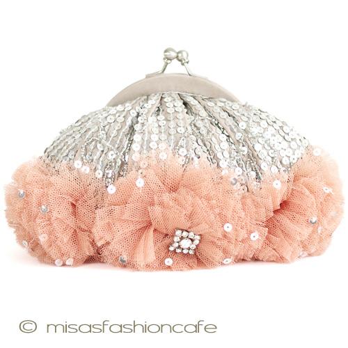 SANTIサンティクラッチ・スパンコールフラワー パーティーバッグ(小)結婚式 二次会にも ギフト プレゼントにも お呼ばれ 40代 30代