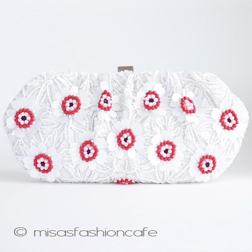 SANTI サンティ  クラッチ バッグ Red&White フラワー 結婚式 二次会 パーティー 着物にも  【在庫あります】