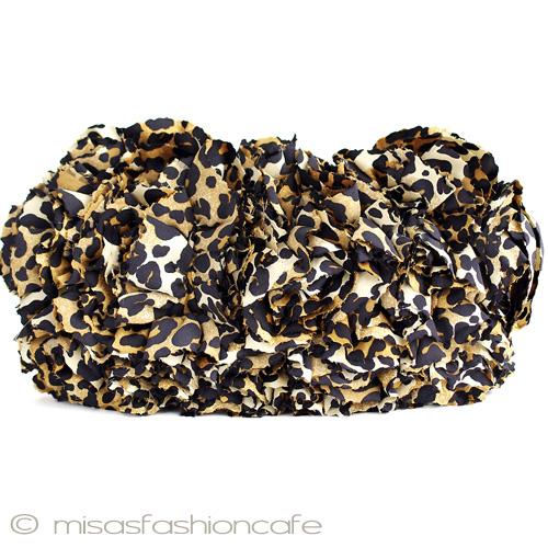 SANTI サンティ クラッチバッグ レオパードフラワー豹柄 ヒョウ柄 レオパ フリル パーティーバッグ