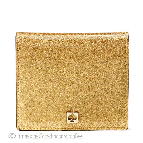 Kate spade ケイトスペード コンパクト・ミニ財布  グリッター ゴールド折財布 「glitter mavis street serenade」  小さいバッグに最適 ギフト プレゼント 贈り物 金運アップカラー 金色 ホワイトデー