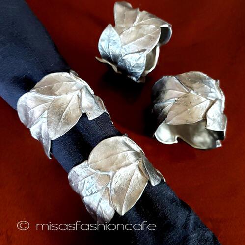 マイケルミショー 銀葉ハーブ ナプキンリング 4個セット 新品 Michael Michaud キッチン雑貨 洋食器 テーブルコーディネート テーブルウェア 日本未発売 おうち時間 おもてなし料理 インテリア ホームパーティー テーブルアート