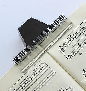ミュージックブッククリップクリア/鍵盤【ミュージック・フォ・リビング/MUSIC FOR LIVING】【ナカノ直営・音楽雑貨専門店】【ステーショナリー・クリップ・ギフト】