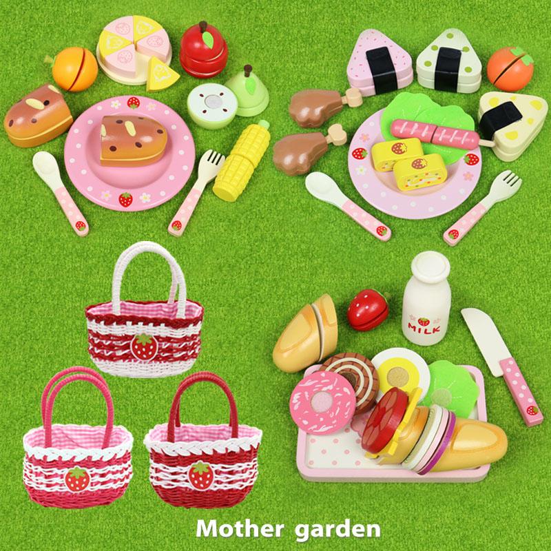 マザーガーデン 木製 おままごと 野いちごままごと ピクニック バスケット 3種全部 デラックスセット ままごと 知育玩具 食材 送料無料 | セット おままごとセット ままごとセット 女の子 子供 おもちゃ
