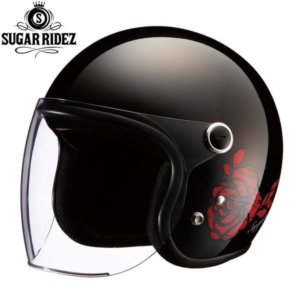 SUGAR RIDEZ Vivian ROSE BK ジェットヘルメット レディースサイズ(57-58cm)