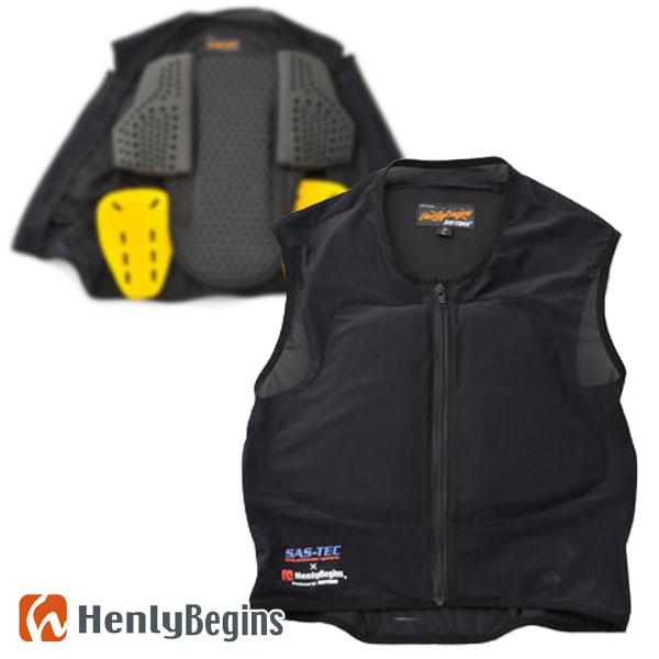 Henlybegins/ヘンリービギンズ【HBJ-015】プロテクターベスト 胸部、背中、脇にプロテクターを装備したベスト型セイフティインナー(ブラック) DAYTONA/デイトナ