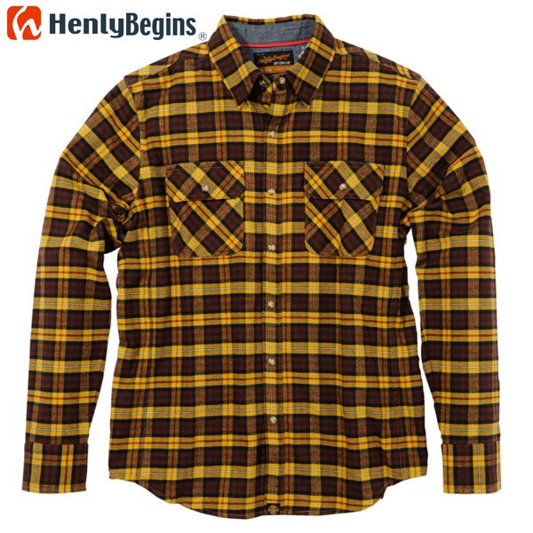 HenlyBegins プロテクター対応 ネルシャツ カラシ NHB-1504