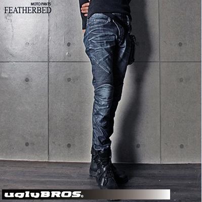 ★送料無料★ uglyBROS UB0001 MOTOPANTS FEATHERBED アグリーブロス モトパンツ フェザーベッド メンズ ライディング デニムパンツ スリムストレート/オリジナル