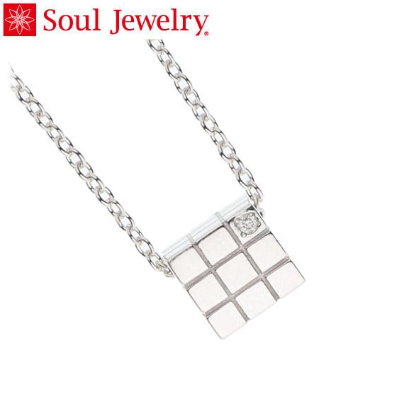 遺骨ペンダント Soul Jewelry キューブ K18 ホワイトゴールド 『ダイヤモンド』 (予定納期約4週間)