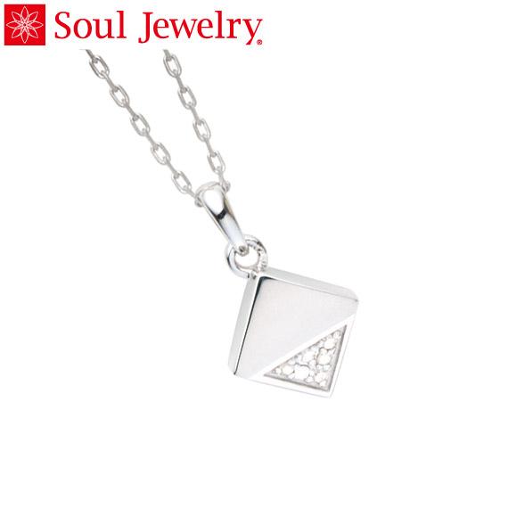 遺骨ペンダント Soul Jewelry キューブ カット K18 ホワイトゴールド 『ダイヤモンド』  (予定納期約4週間)