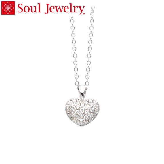 遺骨ペンダント Soul Jewelry パヴェ プチハート K18 ホワイトゴールド (予定納期約4週間・代引のご注文は不可)