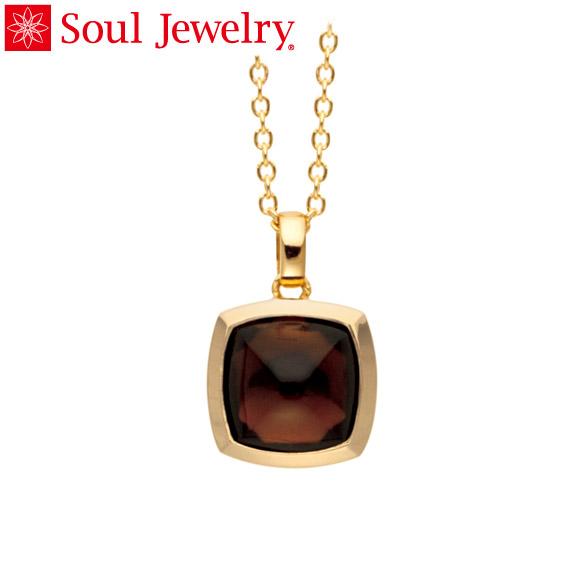 遺骨ペンダント Soul Jewelry スモーキークォーツ ピラミッド K18 イエローゴールド (予定納期約4週間・代引のご注文は不可)