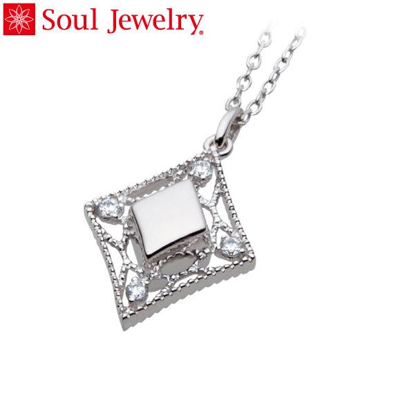 遺骨ペンダント Soul Jewelry エレガントレース K18 ホワイトゴールド・ダイヤモンド (予定納期約4週間・代引のご注文は不可)