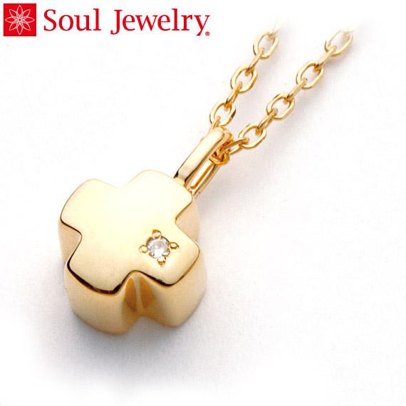 遺骨ペンダント Soul Jewelry グリーククロス K18 イエローゴールド・ダイヤモンド (予定納期約4週間・代引のご注文は不可)