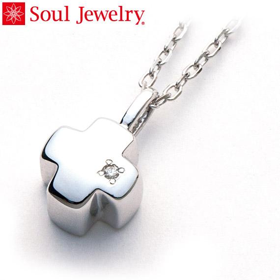 遺骨ペンダント Soul Jewelry グリーククロス Pt900 プラチナ・ダイヤモンド (予定納期約4週間・代引のご注文は不可)