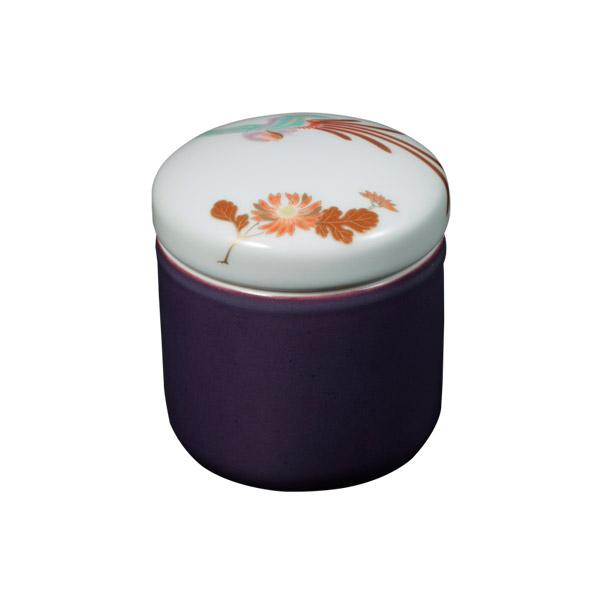 【Yahooニュースで深川製磁が紹介されました。「マイ骨つぼ」に。】【骨壷】菊鳳凰紋 紫紺彩磁 サイズ:分骨壺 (深川製磁)【送料無料】高貴な紫紺に映える鳳凰が見事に調和されています 手元供養にも[骨壺 仏具 供養]【メモリアルアートの大野屋】