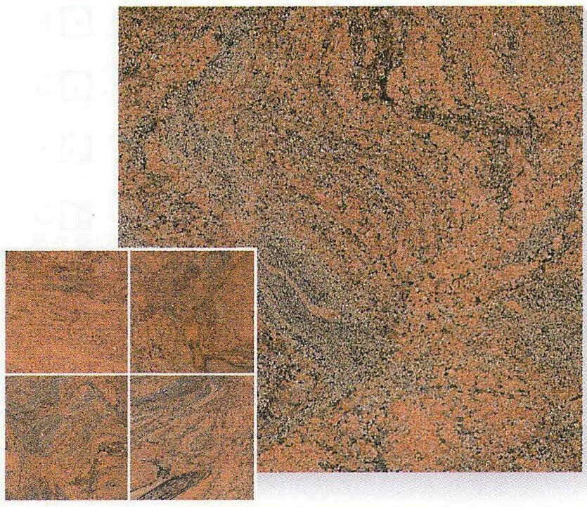 【送料無料】天然御影石規格タイルマルチカラーレッド 磨き400×400×12~13(5枚入り)