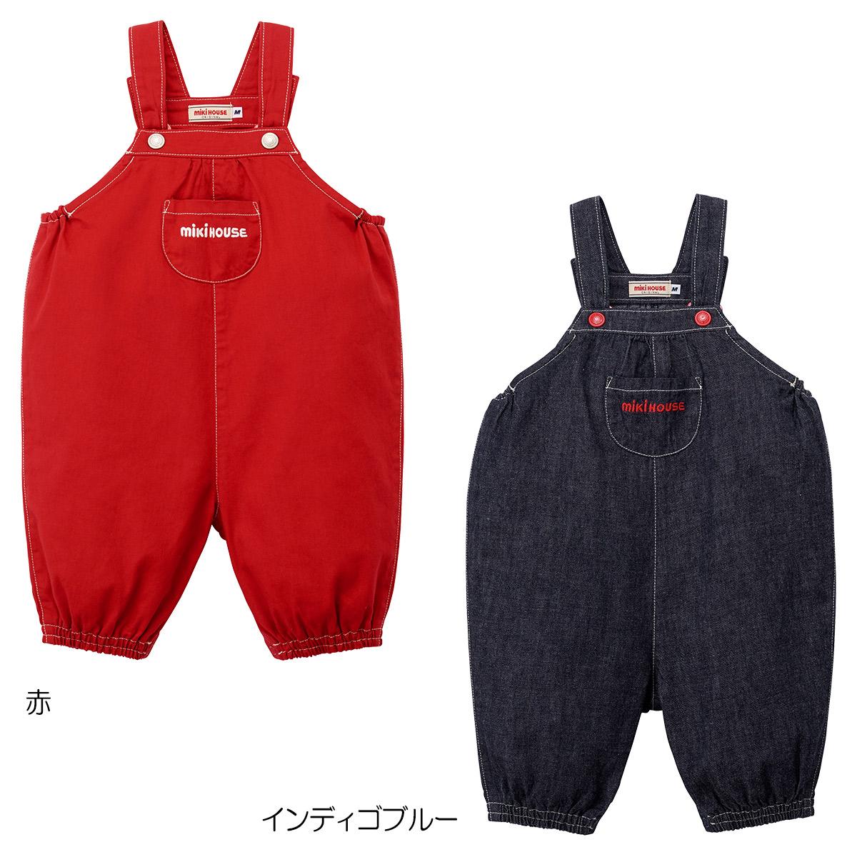 [mikihouse][ミキハウス]6分丈デニムオーバーオール〈S-M(70cm-90cm)〉