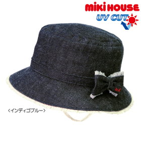 [mikihouse][ミキハウス]リボン付き♪デニムクロッシェ(帽子)〈SS-L(46cm-54cm)〉