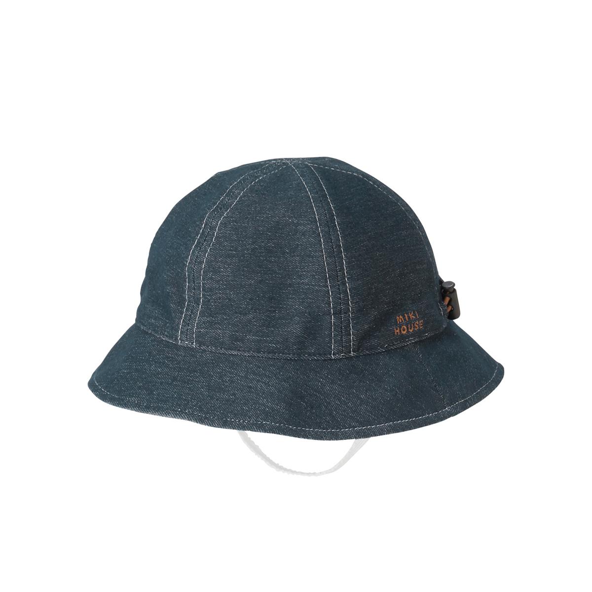 [mikihouse][ミキハウス]つば裏ギンガムチェックのデニム帽子〈フリー(44cm-48cm)〉