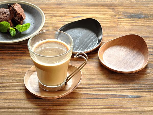食器 コースター おしゃれ 木製 茶托 しずく形 アウトレット カフェ風 耳付きコースター(小)