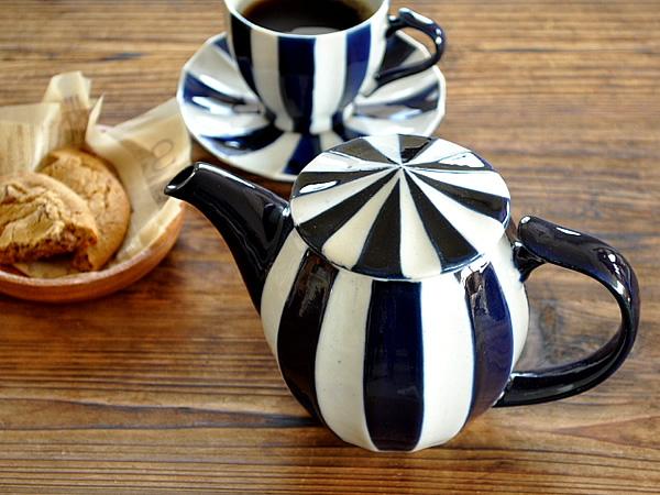 食器 ティーポット おしゃれ 和食器 モダン 陶器 美濃焼 アウトレット カフェ風 (瑠璃)バチカンポット(ステンレス製カゴ網付き)