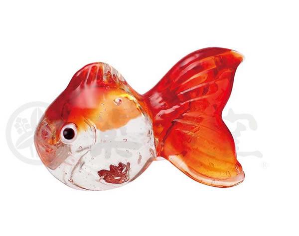 ●薬師窯 なつかし屋●ガラス金魚箸置き(大・赤)