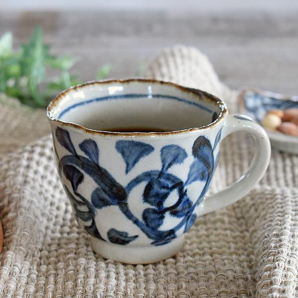 食器 マグカップ おしゃれ 和食器 モダン 日本製 アウトレット 手書きたこ唐草マグカップ カフェ風 美濃焼 激安格安割引情報満載 ふるさと割