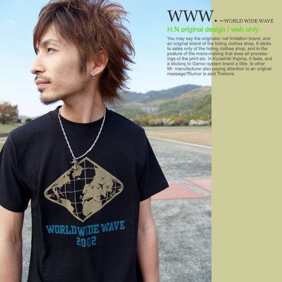 ★ Cat POS OK! WWW. ~ WORLD WIDE WAVE MI-215. ne-sorted limited edition T shirt