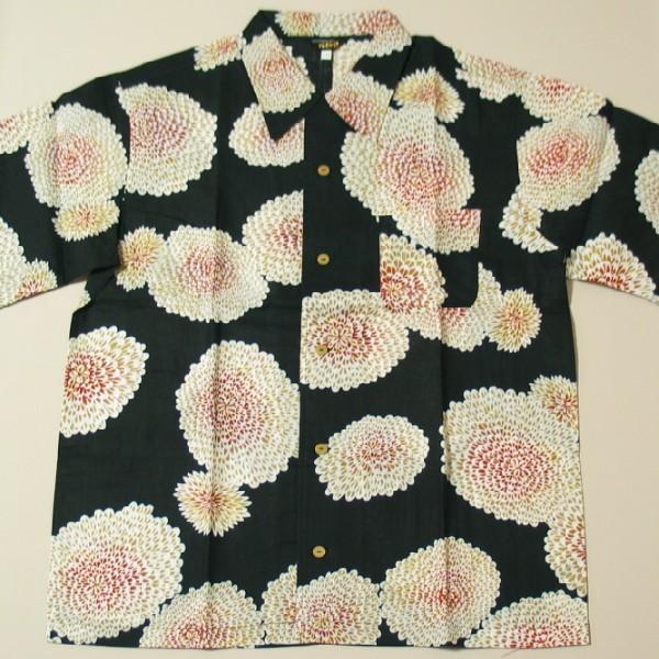 和柄 国産 浴衣 アロハ シャツ「菊尽くし」(ブラック)【手染/オリジナル】