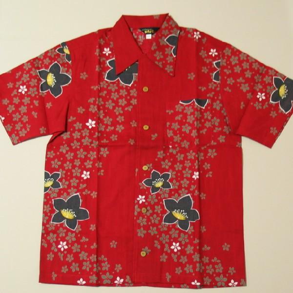 【即配】和柄 浴衣 アロハ シャツ「桔梗」(レッド) 国産