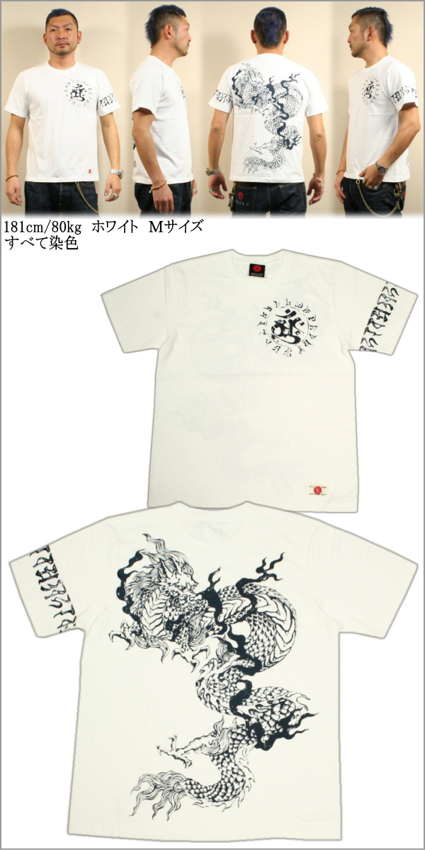 Kyoto Yuzen and Japanese pattern t-shirt static Dragon (せいりゅう) fs3gm