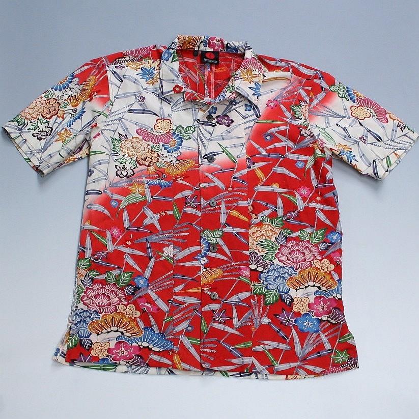 和柄 手染め京友禅/シルク国産着物アロハシャツ「紅型・松竹梅」 size:XS【手染/オリジナル/送料無料】