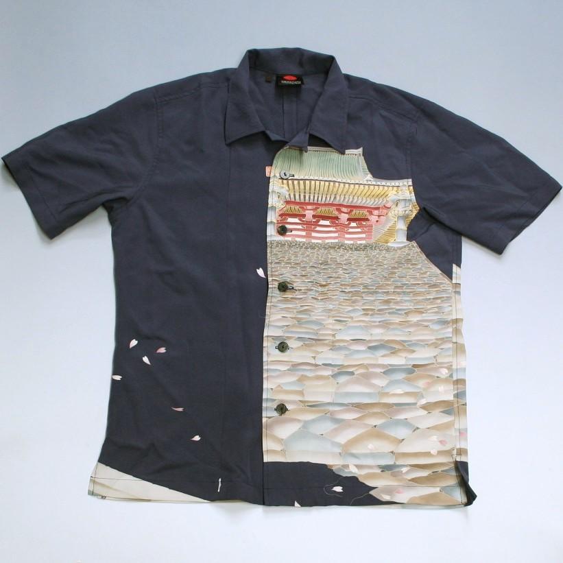 和柄 留袖 アロハ シャツ「宮殿模様」size:L【手染/オリジナル/送料無料】