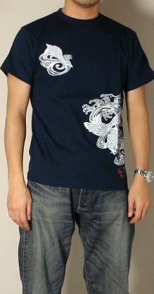 Kyoto Yuzen and Japanese pattern t-shirt 'Koi waterfall' fs3gm