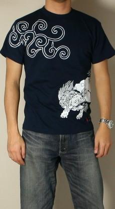 Kyoto Yuzen and Japanese pattern t-shirt 'karajishi' fs3gm Rakuten Japan sale item