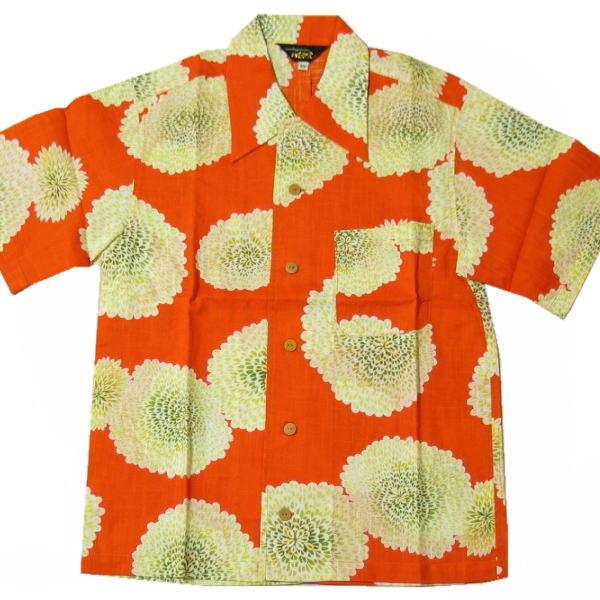 【50%OFF 半額セール】和柄 国産 浴衣 アロハ シャツ「菊尽くし」(オレンジ)【手染/オリジナル】