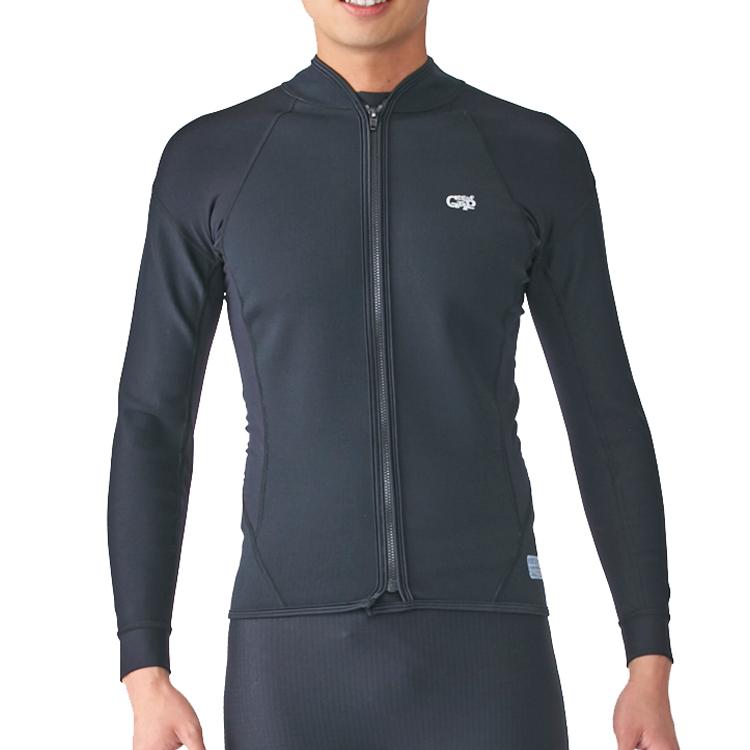 【Surf Grip】HC CSP AIR SKIN エアースキン 長袖/フロントジップ ブラック ダイビング スノーケル サーフィン インナー