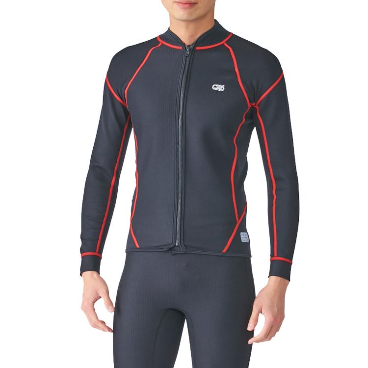 【Surf Grip】HC CSP AIR SKIN エアースキン 長袖/フロントジップ レッドステッチ ダイビング スノーケル サーフィン インナー