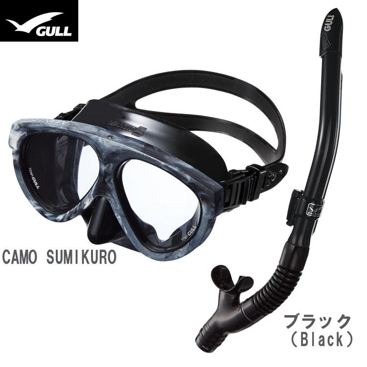 【GULL】マンティス5 ブラックシリコン + カナールドライSP スノーケル2点セット【男性向け】【20P23Feb19】