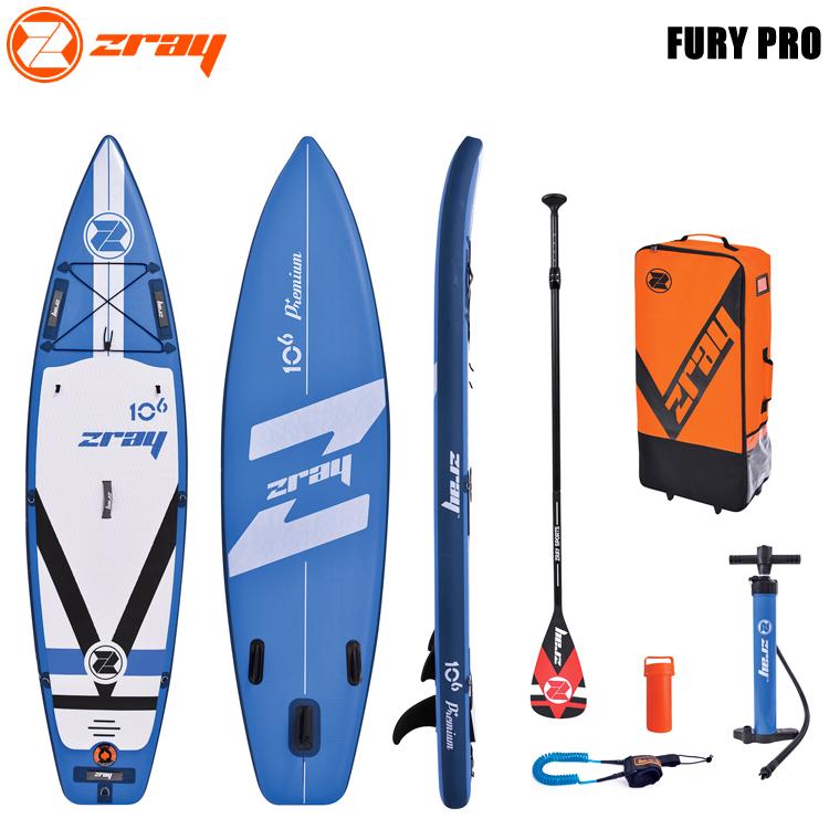 【zray】ジーレイ FURY PRO SUP インフレータブル スタンドアップパドルボード ハイグレードSUP セット F2-37509 (Blue)【02P13Jul19】