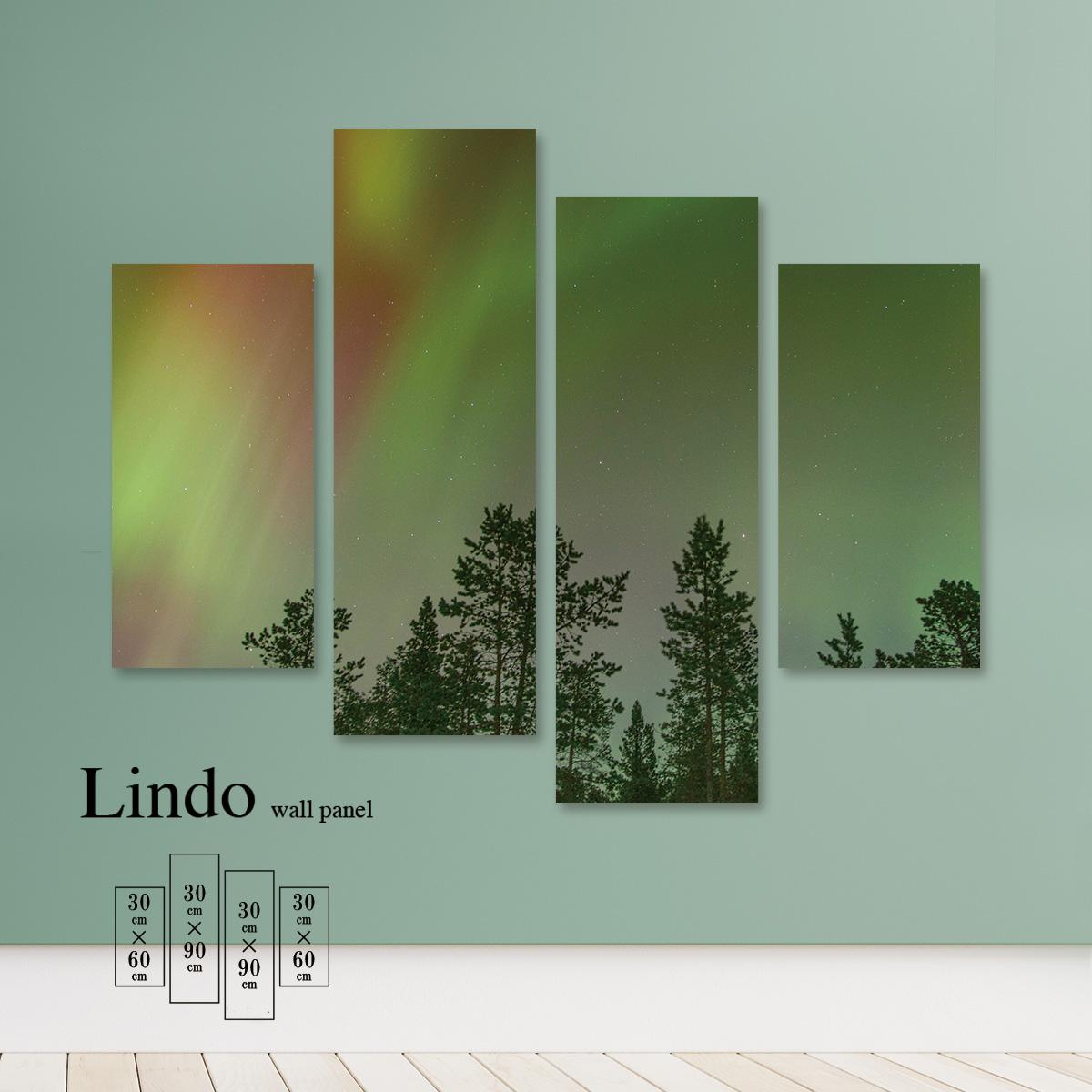 ファブリックパネル オーロラ 空 虹色 景色 夜空 幻想的 木 森 壁掛け 北欧 お洒落 デザイン アート 壁飾り アートボード 4枚パネル