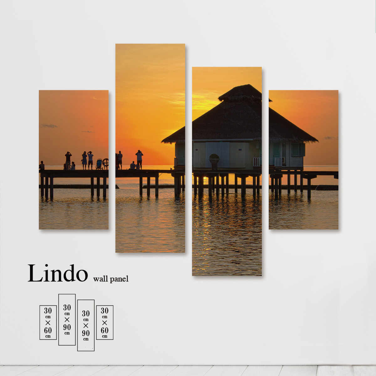 ファブリックパネル 海 海面 海岸 浜辺 ビーチ 風景 景色 夕日 夕焼け 壁掛け 北欧 お洒落 デザイン アート 壁飾り アートボード 4枚パネル