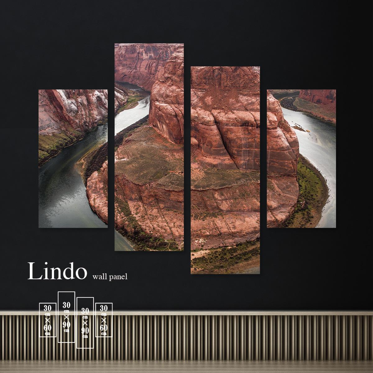 ファブリックパネル 山 マウンテン 自然 風景 景色 上空 湖 壁掛け 北欧 お洒落 デザイン アート 壁飾り アートボード 4枚パネル