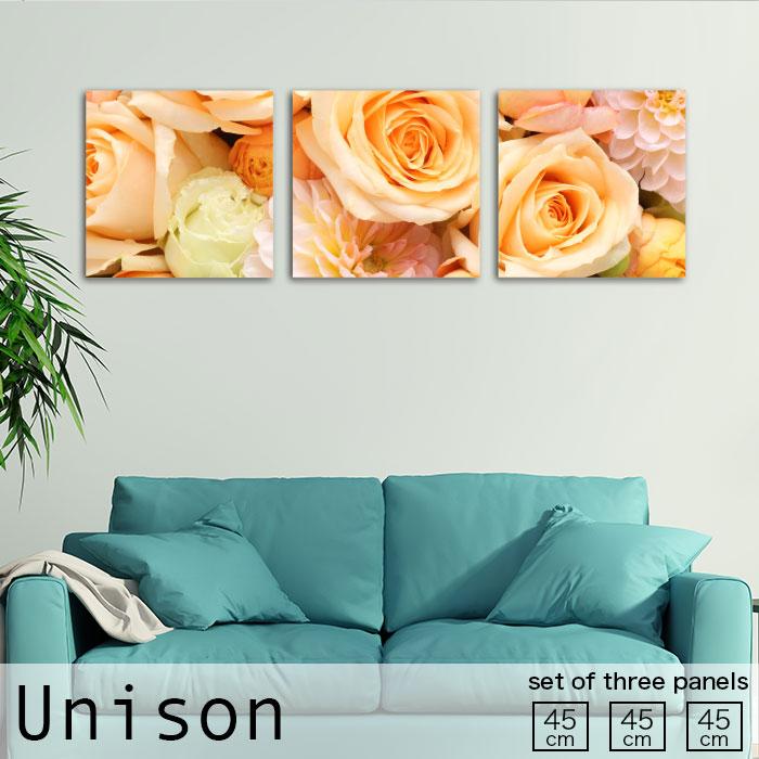 ファブリックパネル Unison Mサイズ かわいい 黄 花 薔薇 花束 華やか 植物 フラワー ローズ 北欧 生地 オシャレ