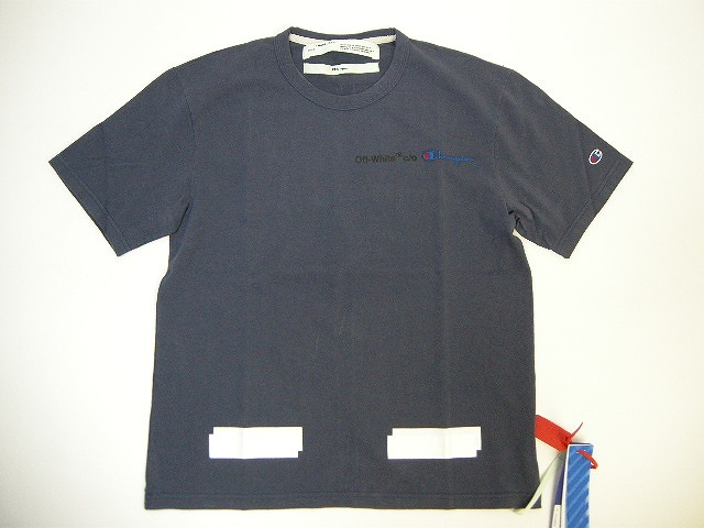 【送料無料】【OFF-WHITE/オフホワイトOFFWHITE/ CHAMPION/チャンピオン/Tシャツ/TEE】【メンズ/男性】【ダークネイビー系】【サイズXS/S/M/L/XL】【イタリア製/VIRGIL ABLOH/ヴァージルアブロー/バージルアブロー/OFF WHITE】