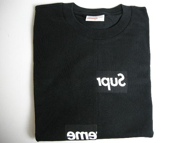 【2018AW Supreme/シュプリーム/COMME des GARCONS SHIRT Split Box Logo Tee/スプリット ボックスロゴTシャツ/コムデギャルソンシャツ/半袖T/ロゴT/CDG】【18AW/18FW/2018FW/ブラック/BALCK/黒】【メンズ/サイズM】