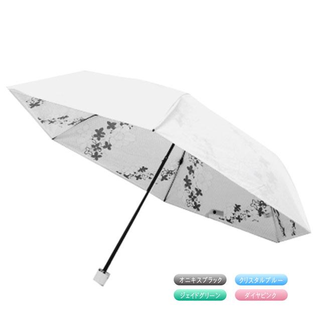 日傘 折りたたみ UVカット 紫外線 晴雨兼用 軽量 遮熱効果 耐風 プレミアムホワイト50ミニカーボン SWAROVSKI