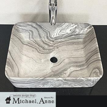 穴無しタイプ陶器製 卓上洗面ボウル(マーブル模様)【H-B-178-Marble】