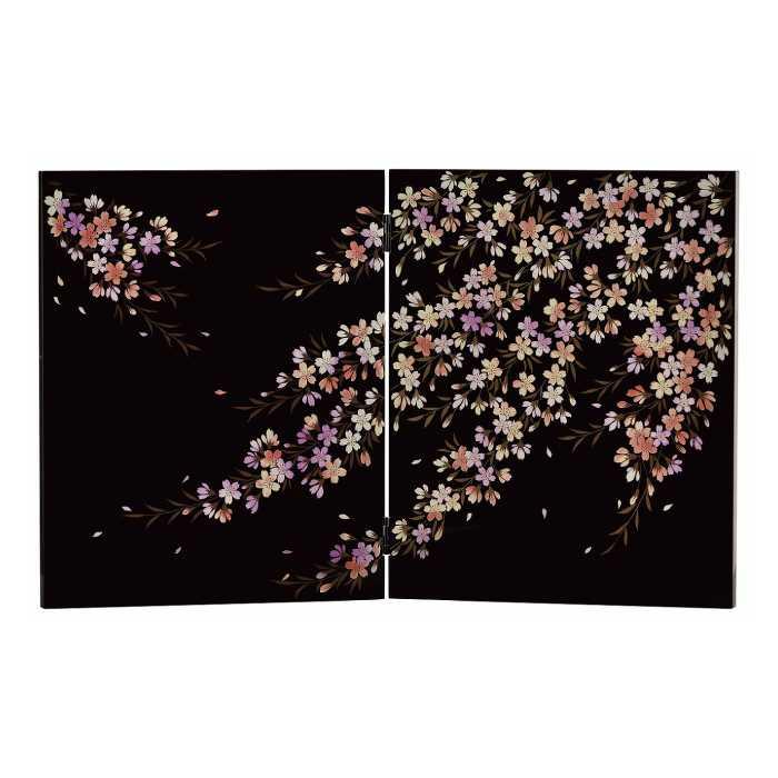 [20-21-4] 黒 二曲屏風(大)桜花*