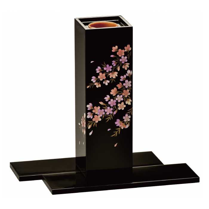 [20-23-1] 黒 角型 花生け 桜花 台付